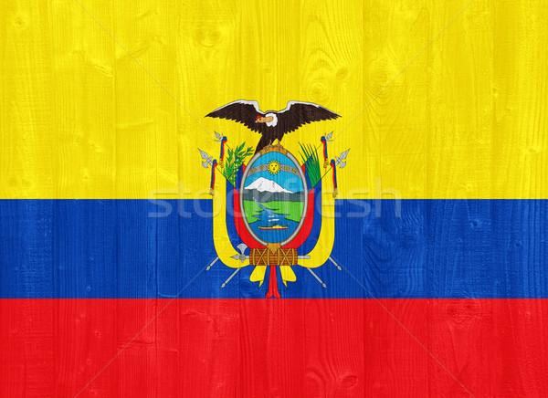Эквадор флаг великолепный окрашенный древесины доска Сток-фото © luissantos84
