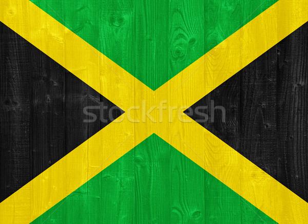 Stok fotoğraf: Jamaika · bayrak · boyalı · ahşap