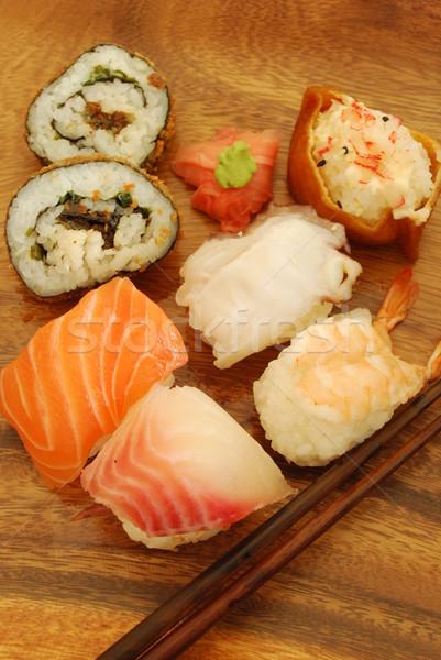 Sushi yemek somon kılıçbalığı Stok fotoğraf © luissantos84