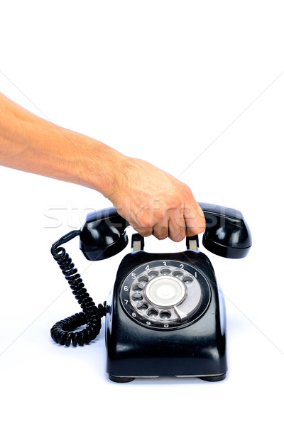 Telefoon hand oude zwarte geïsoleerd Stockfoto © lukchai