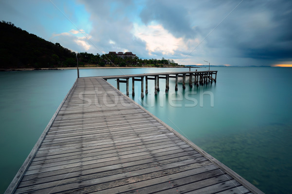 морской пейзаж красоту синий облака небе мнение Сток-фото © lukchai