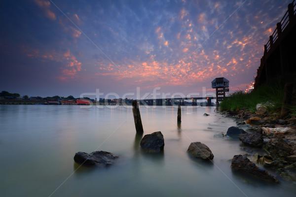 Rio negócio estrada edifício pôr do sol projeto Foto stock © lukchai