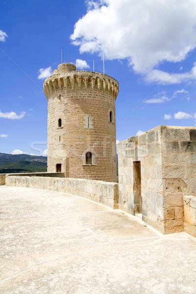 Kastély Mallorca torony építkezés híd építészet Stock fotó © lunamarina
