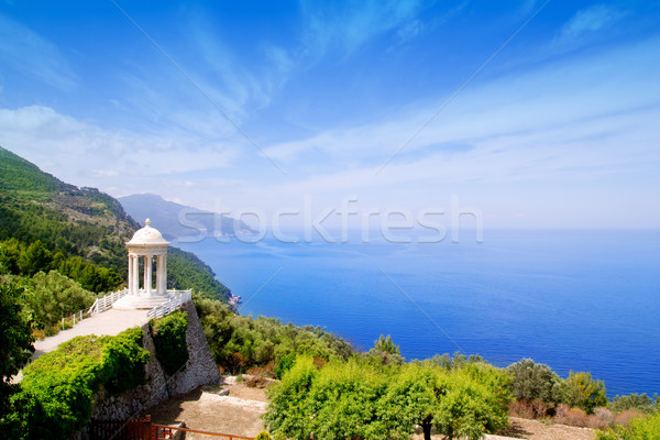 Filho mar mediterrânico paisagem janela árvores Foto stock © lunamarina