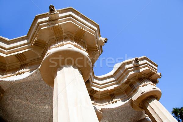 Cem colunas Barcelona parque céu arte Foto stock © lunamarina