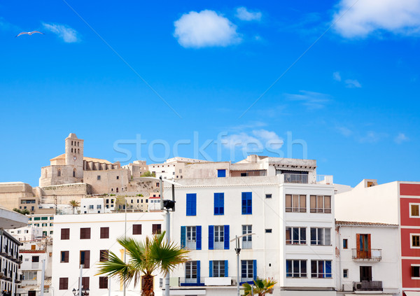 Eivissa Ibiza town with church under blue sky Stock photo © lunamarina