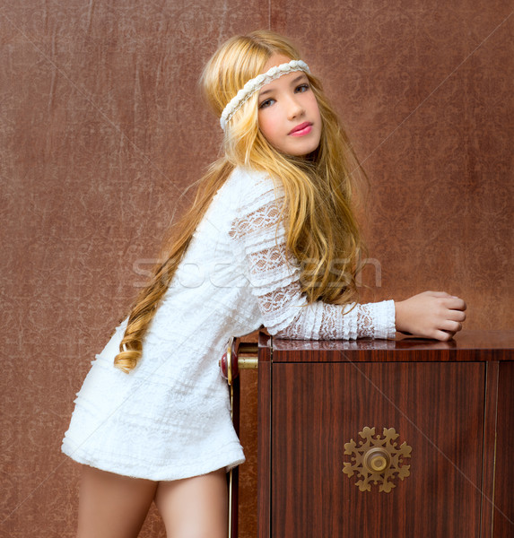 Blond children girl retro 70s with vintage furniture Stock photo © lunamarina