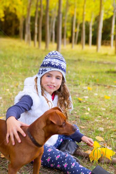 Сток-фото: осень · девушки · тополь · дерево · лес · играет