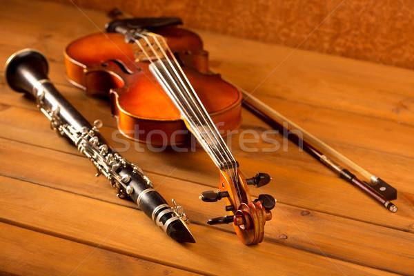 Classic music violin and clarinet in vintage wood Stock photo © lunamarina