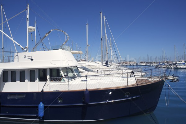 blue hull motorboat mediterranean marina Stock photo © lunamarina