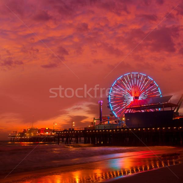 Santa Monica California sunset on Pier Ferrys wheel Stock photo © lunamarina
