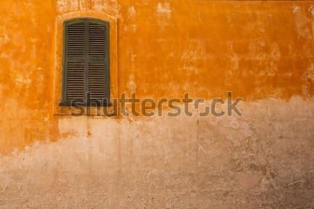 木製 シャッター ウィンドウ グランジ 黄色 タウン ストックフォト © lunamarina
