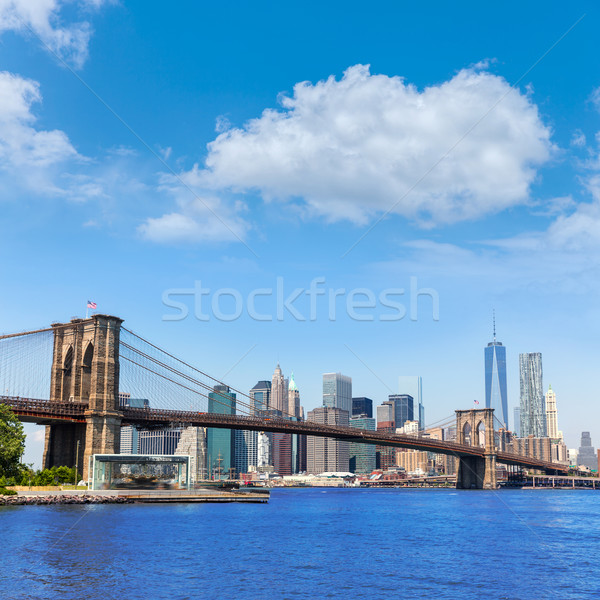 Stock photo: Brooklyn Bridge and Manhattan skyline New York