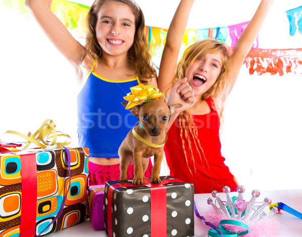 girl friends party dancing with presents and puppy Stock photo © lunamarina