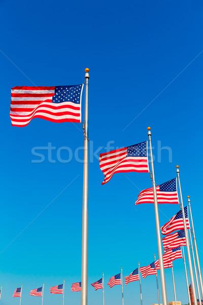 Washington Anıtı bayraklar bölge şehir mavi seyahat Stok fotoğraf © lunamarina