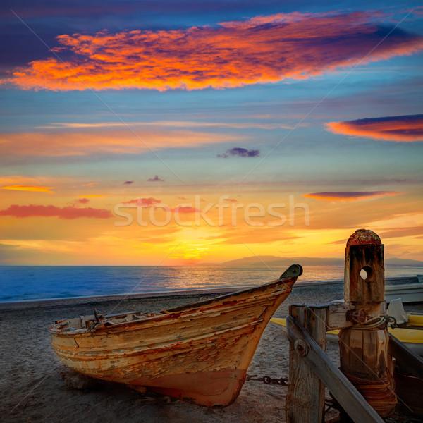 Almeria Cabo de Gata beached boats in the beach Stock photo © lunamarina