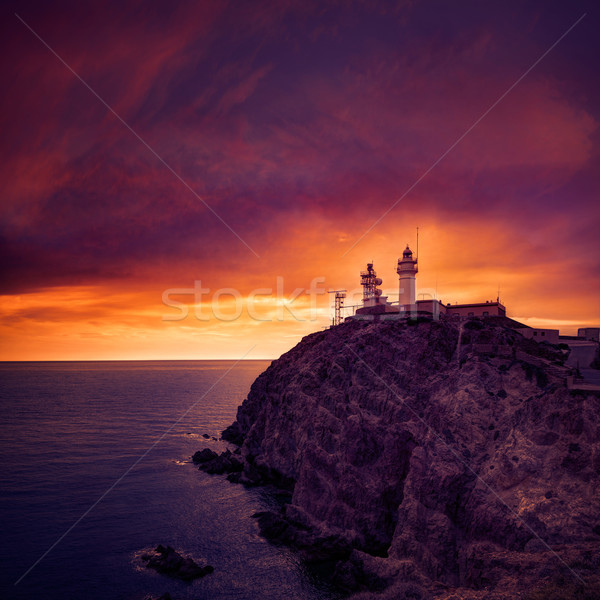 Almeria Cabo de Gata lighthouse sunset in Spain Stock photo © lunamarina