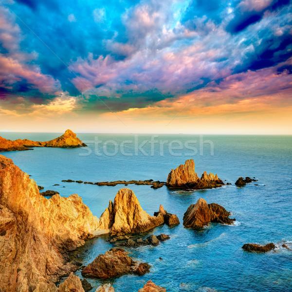Almeria Cabo de Gata las Sirenas sunset Stock photo © lunamarina