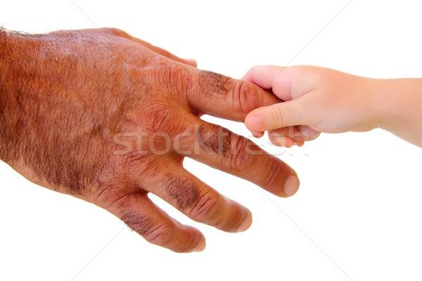 Peu Kid main poilue père Photo stock © lunamarina