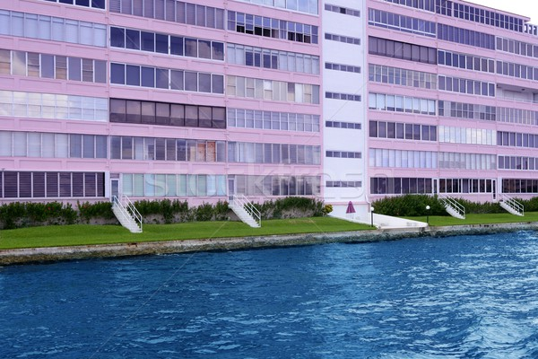 Florida Pompano Beach pink building in waterway Stock photo © lunamarina