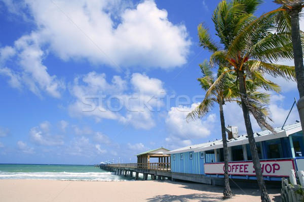 Fort Lauderdale beach cafe with tropical palm trees Stock photo © lunamarina