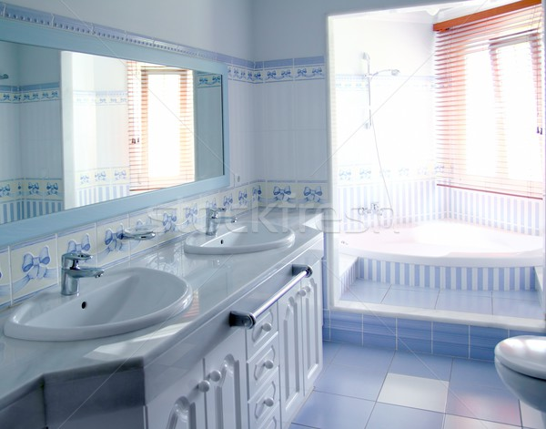 Klasszikus kék fürdőszoba belső csempék dekoráció Stock fotó © lunamarina