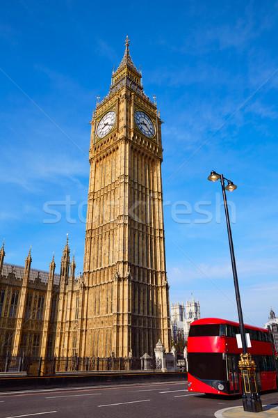 Big Ben horloge tour Londres bus Angleterre Photo stock © lunamarina