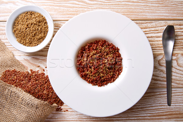 Red wild rice with sesame gomasio seasoning Stock photo © lunamarina