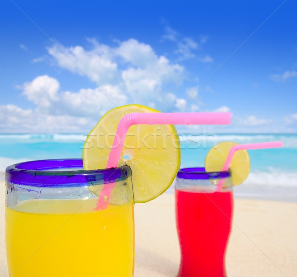 Praia tropical cocktails turquesa caribbean mar Foto stock © lunamarina