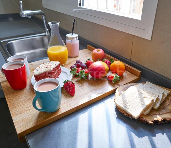 Breakfast in kitchen with coffee bread fruit juice Stock photo © lunamarina