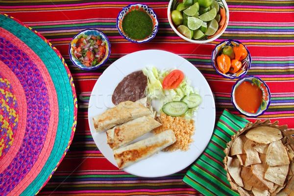 Burritos mexican rolled food rice salad and frijoles Stock photo © lunamarina