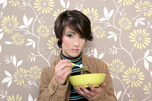 breakfast cereal bowl soup dish retro woman vintage Stock photo © lunamarina