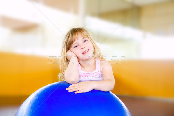 child little girl with gym aerobics ball Stock photo © lunamarina