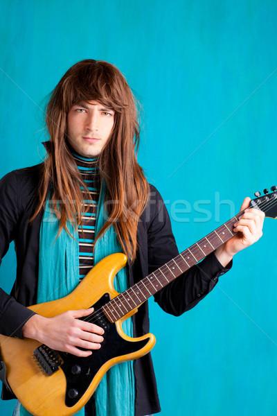 Kő hetvenes évek elektromos gitár játékos férfi hosszú haj Stock fotó © lunamarina