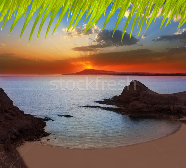 Lanzarote Playa Papagayo beach sunset Stock photo © lunamarina