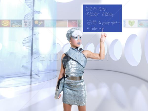 futuristic children girl in silver touch finger math formula Stock photo © lunamarina