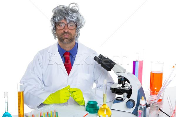 Stock photo: Nerd crazy scientist man portrait working at laboratory