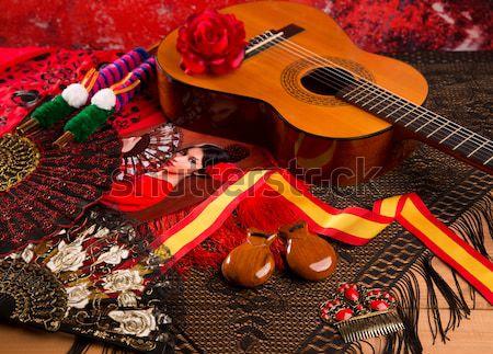 İspanyolca gitar flamenko elemanları klasik tarak Stok fotoğraf © lunamarina
