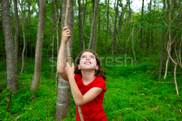 Photo stock: Fille · heureuse · jouer · forêt · parc · jungle · heureux