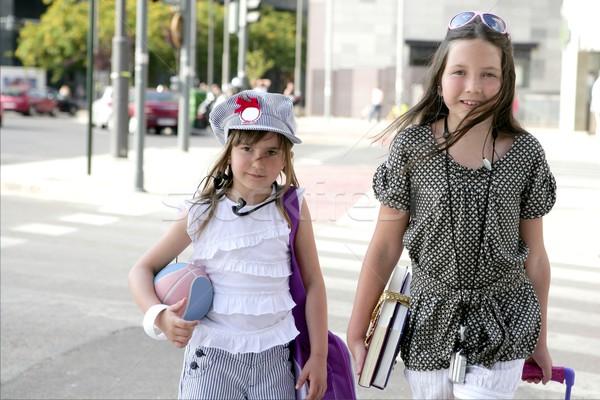 Kicsi diák lányok iskola város kislányok Stock fotó © lunamarina