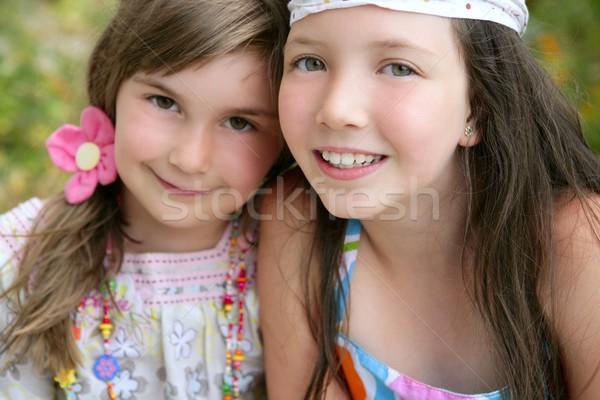 ストックフォト: クローズアップ · 肖像 · 2 · 女の子 · 姉妹