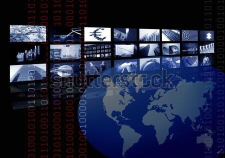 ストックフォト: 銀 · 未来的な · 眼鏡 · テレビ · ニュース