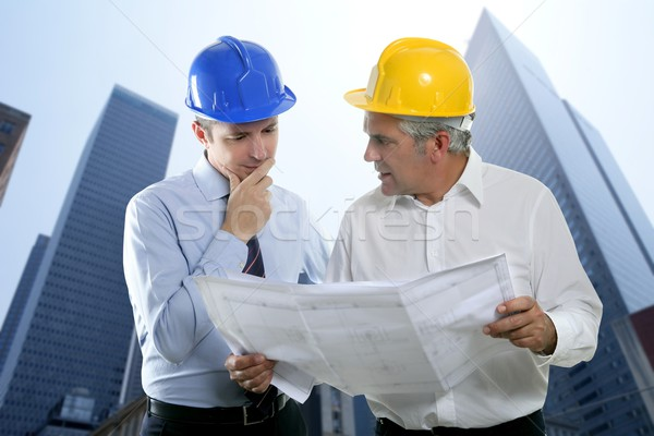 engineer architect two expertise team plan hardhat Stock photo © lunamarina