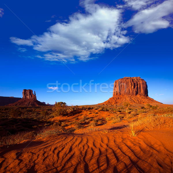 Monument Valley West Mitten and Merrick Butte desert sand dunes  Stock photo © lunamarina