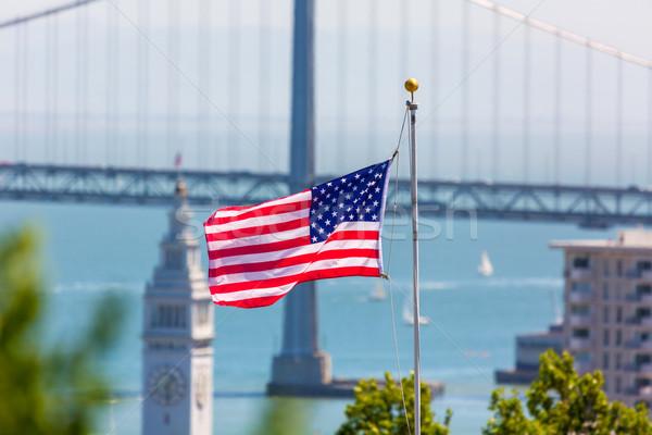 San Francisco USA American Flag Bay Bridge and Clock tower Stock photo © lunamarina