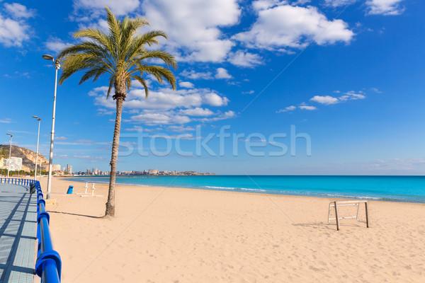 Alicante Postiguet beach at Mediterranean sea in Spain Stock photo © lunamarina