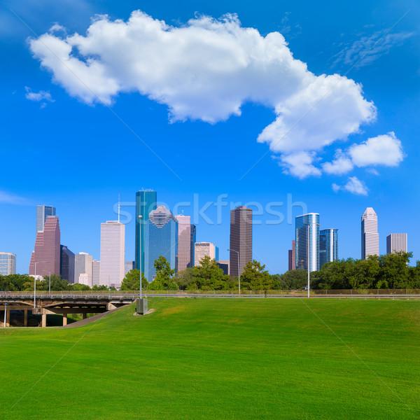 Houston skyline cielo blu parco Texas Foto d'archivio © lunamarina