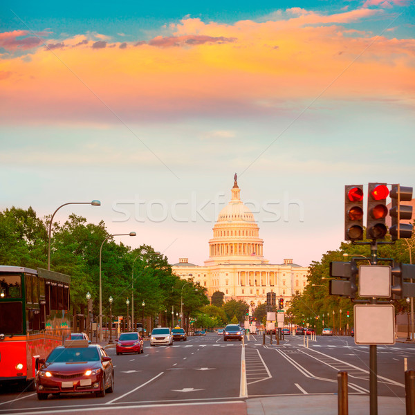Coucher du soleil congrès Washington DC Pennsylvanie USA route Photo stock © lunamarina