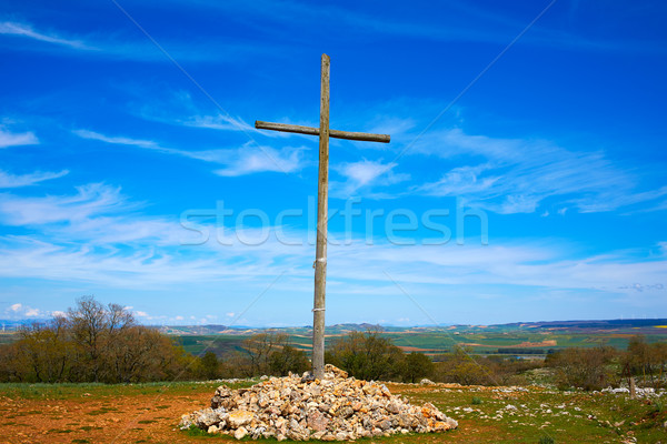 Cruz de Atapuerca cross in Saint James Way Stock photo © lunamarina