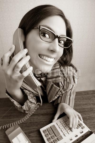 復古 書記 廣角 幽默 電話 女子 商業照片 © lunamarina